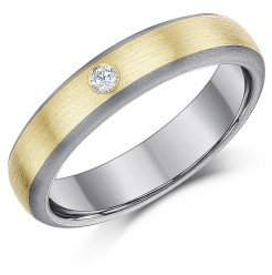 5mm Titanium & 9ct Gold 0.05ct Diamond Engagement Wedding Ring