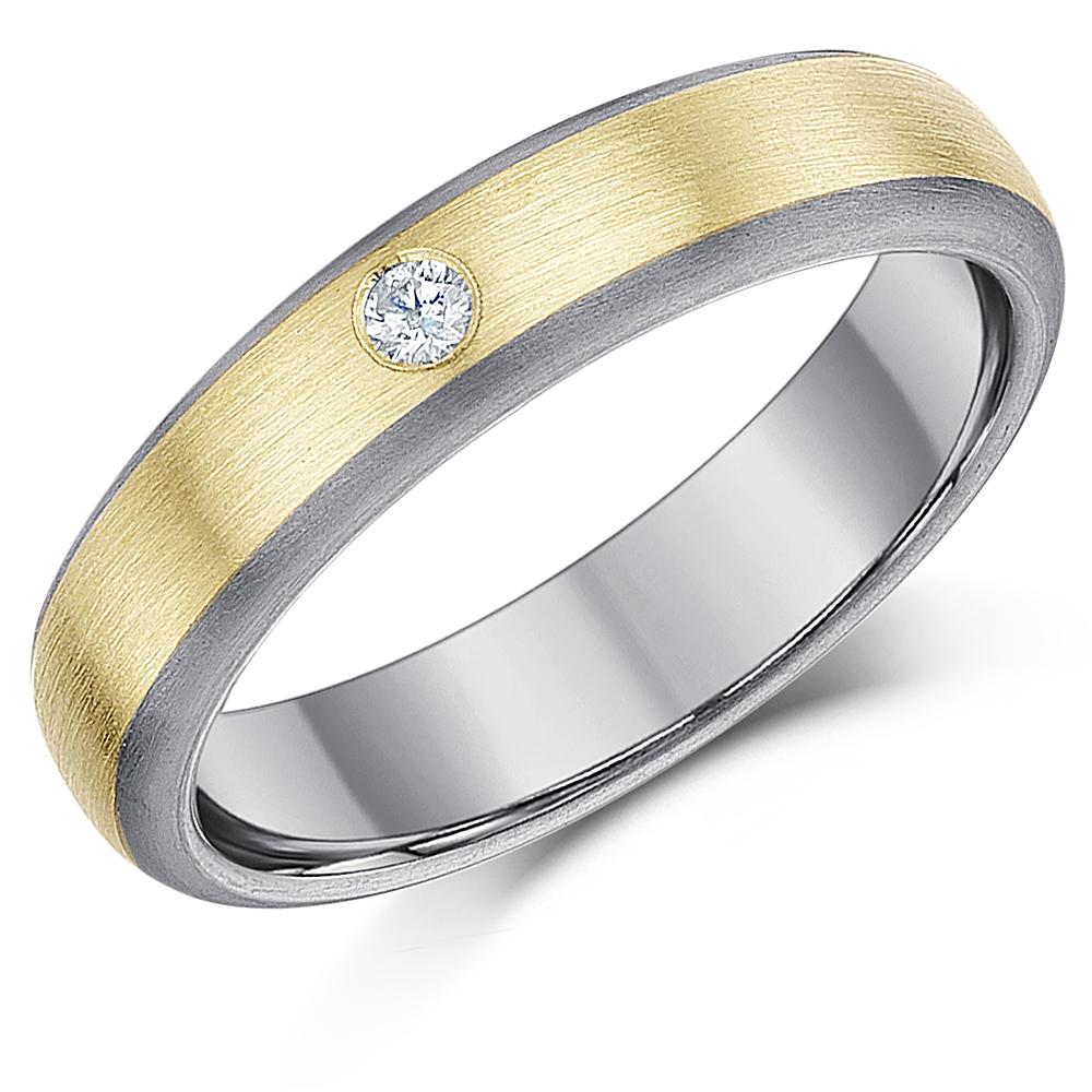 5mm Titanium & 9ct Gold 0.05ct Diamond Engagement Wedding Ring