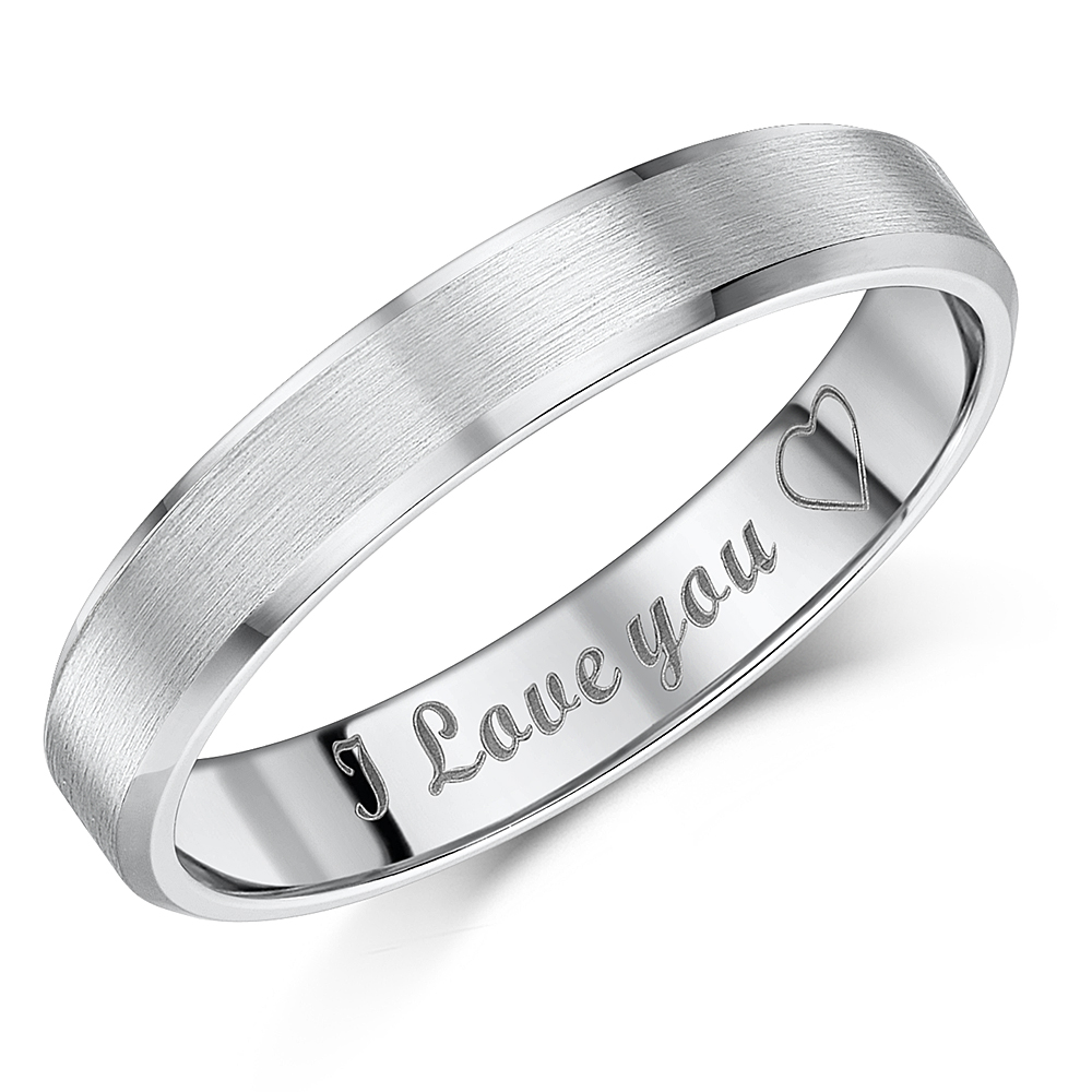 "4mm Titanium ""I Love You'' Engraved Matt & Polished Band"
