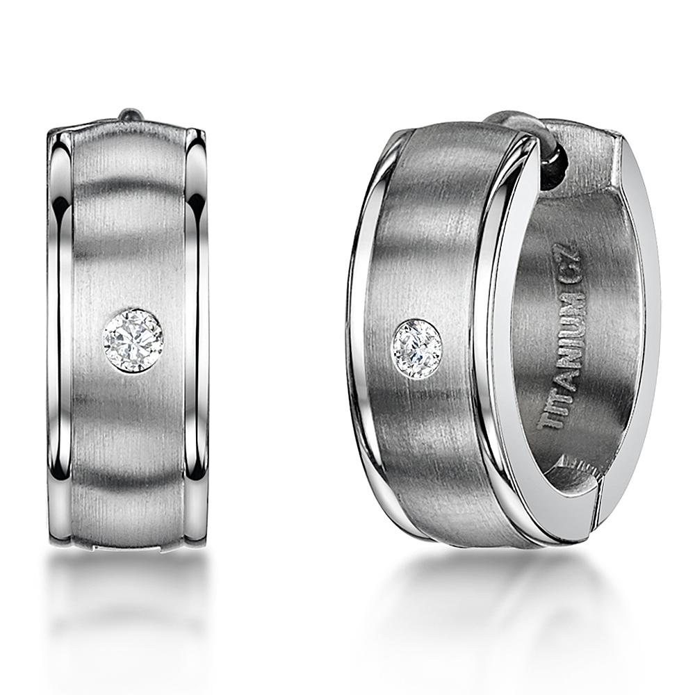 Men's Earring Titanium Hinged Hoop Huggie Matt & Polished Cz Stone Earrings