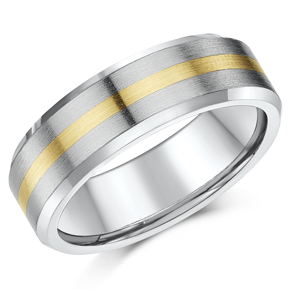 'Sale limited stock' 7mm Titanium & 9ct Yellow Gold Wedding Ring