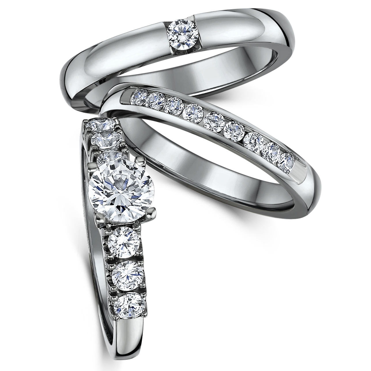 Triple Titanium CZ Bridal Set Engagement Eternity and Single Stone ring