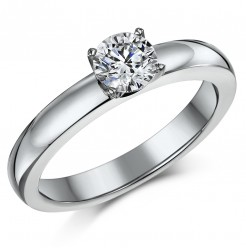 0.90ct Titanium CZ 4 Prongs Solitaire Engagement Ring