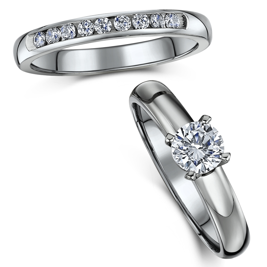 Titanium Bridal set cz engagement & eternity ring