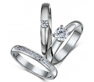 Triple Titanium Bridal Set Engagement Eternity and CZ Stone ring