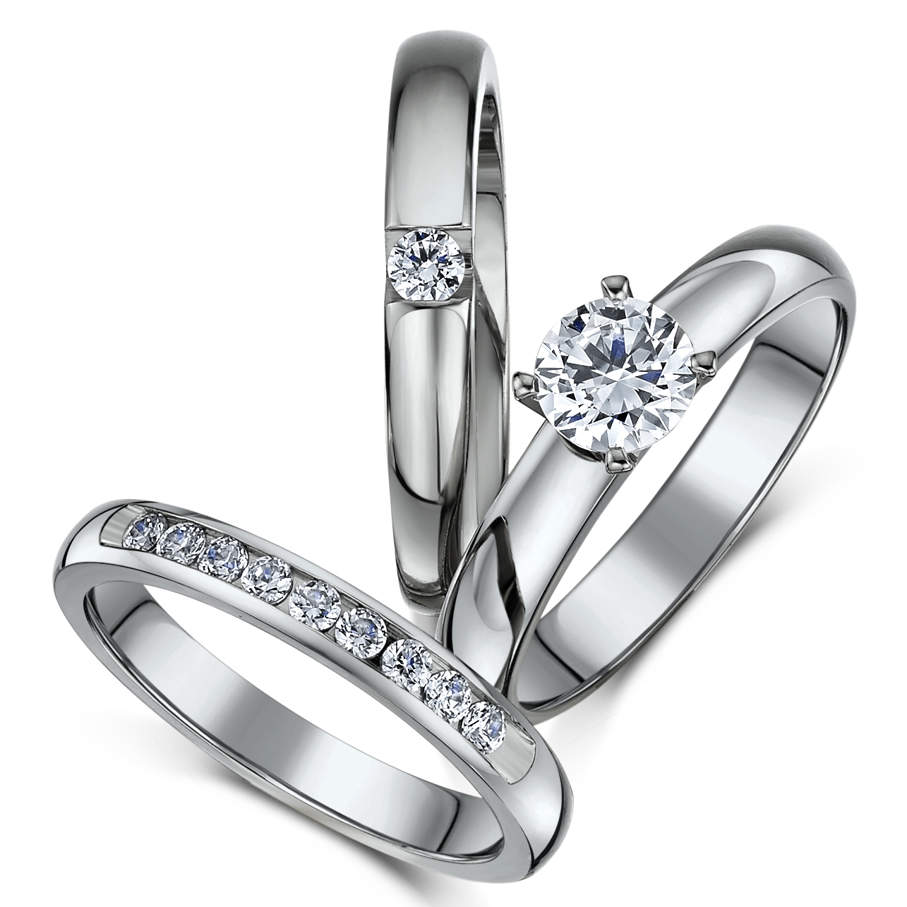 triple titanium bridal set engagement eternity and cz stone ring - Titanium Wedding Ring Sets