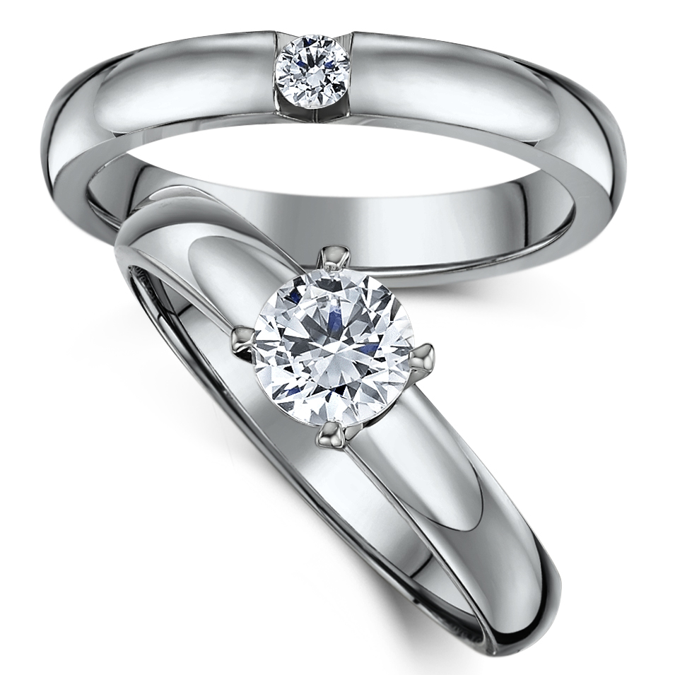 Titanium Bridal set cz engagement & single stone ring
