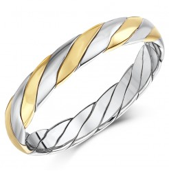 Hand Made 9ct Gold Two Colour Twist Design Wedding Ring Band 4mm
