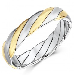 Hand Made 9ct Gold Two Colour Twist Design Wedding Ring Band 5mm