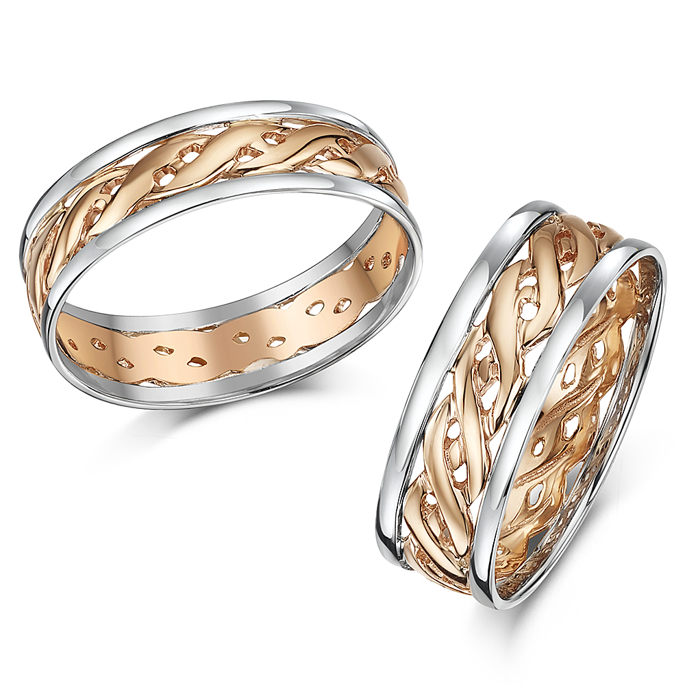 His & Hers 6&7mm Two Colour Rose Gold Celtic Wedding rings 9ct Two