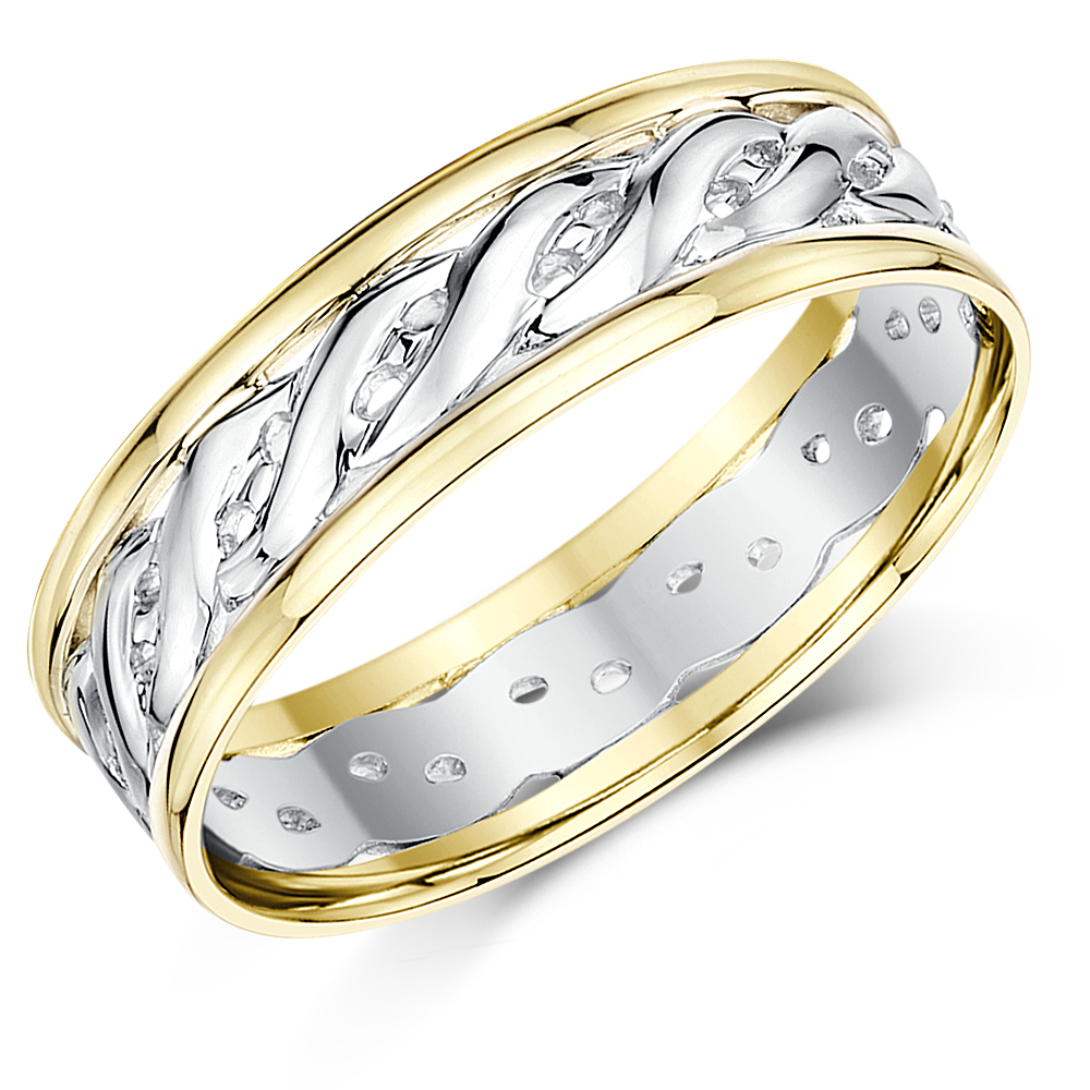 6mm 9ct yellow white gold two colour celtic wedding ring band - Irish Wedding Ring Sets