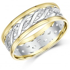 7mm 9ct Yellow & White Gold Two Colour Celtic Wedding Ring Band