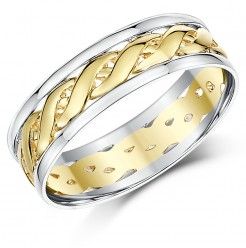 6mm Two Colour Yellow & White Gold Celtic Wedding Ring Band