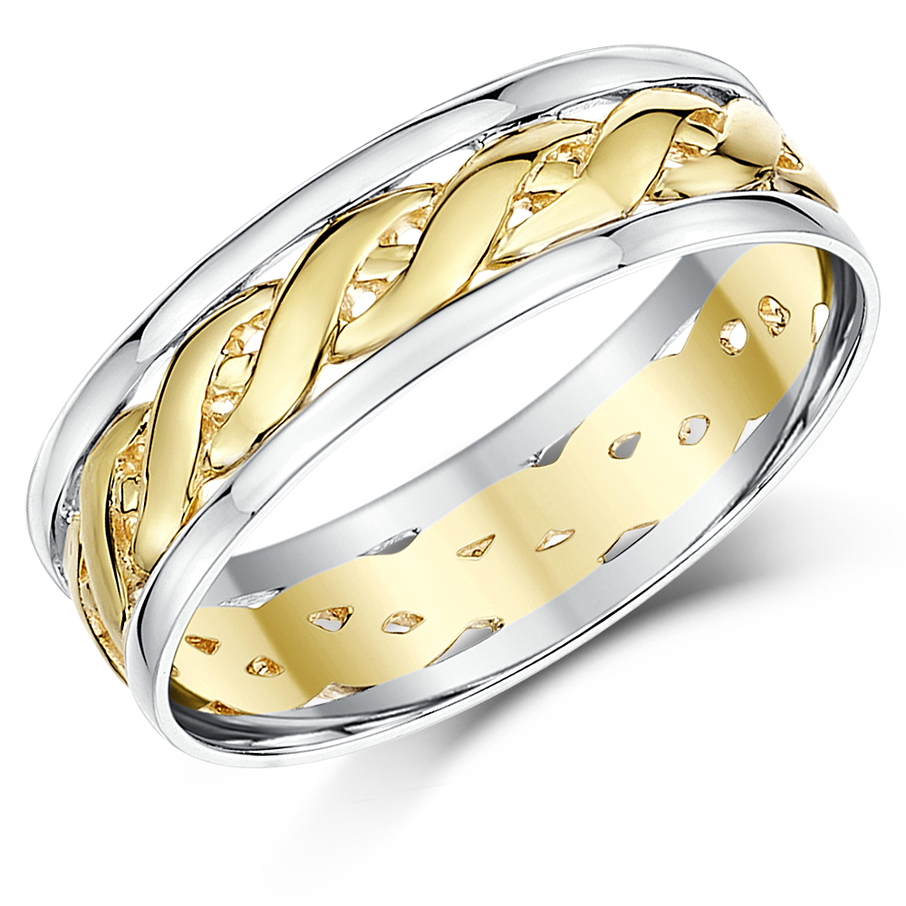 6mm 9ct Two Colour Yellow Gold & Sterling Silver 925 Celtic Wedding Ring