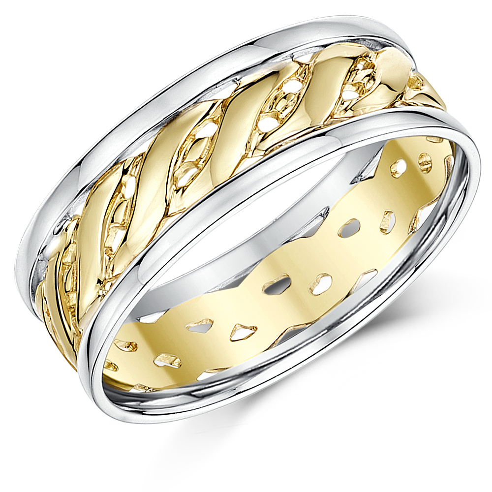 7mm 9ct Two Colour Yellow & White Gold Celtic Wedding Ring Band