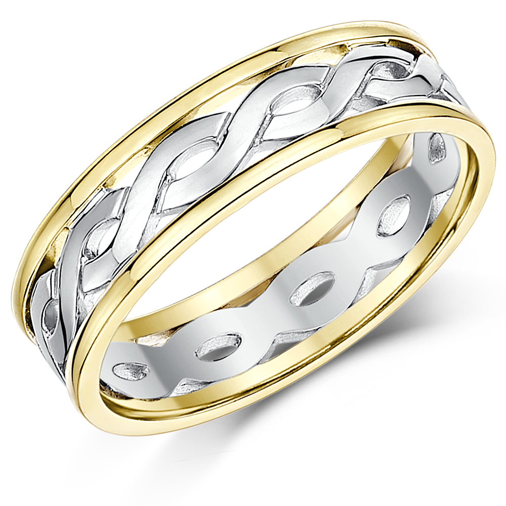 5mm 9ct Gold Two Colour Celtic Wedding Ring