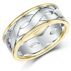 7mm 9ct Gold Two Colour Celtic Wedding Ring