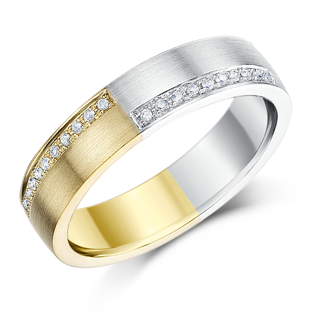 5mm 9ct Yellow Gold & Silver Diamond Wedding Ring