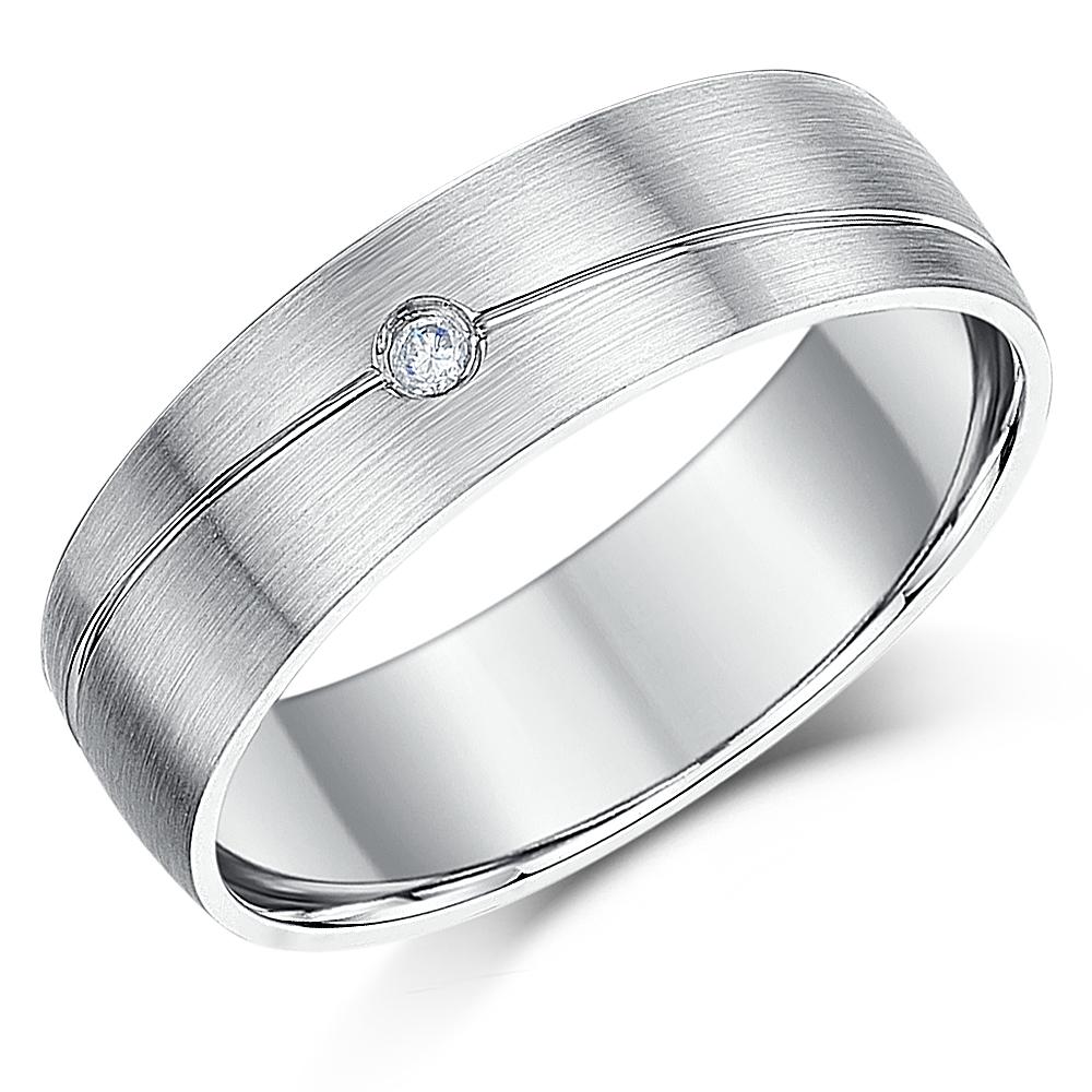 6mm Palladium Designed Diamond Wedding Ring