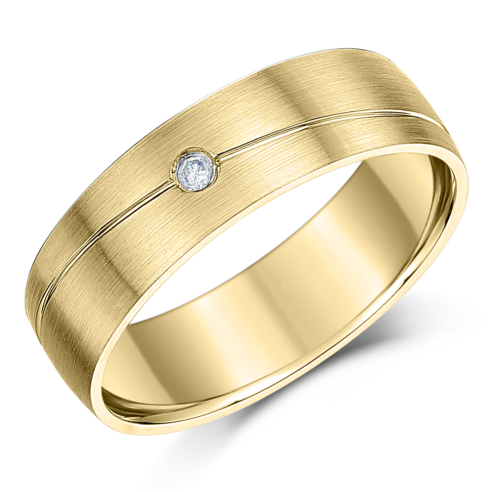6mm 9ct Yellow Gold Designed Diamond Wedding Ring