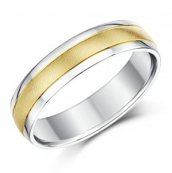 5mm 9ct Yellow Gold & Silver Two Colour Wedding Ring Band
