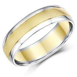 6mm Two Colour 9ct Yellow & White Gold Wedding Ring Band