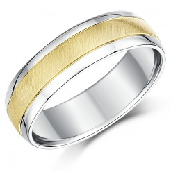6mm 9ct Yellow Gold & Silver Two Colour Wedding Ring Band