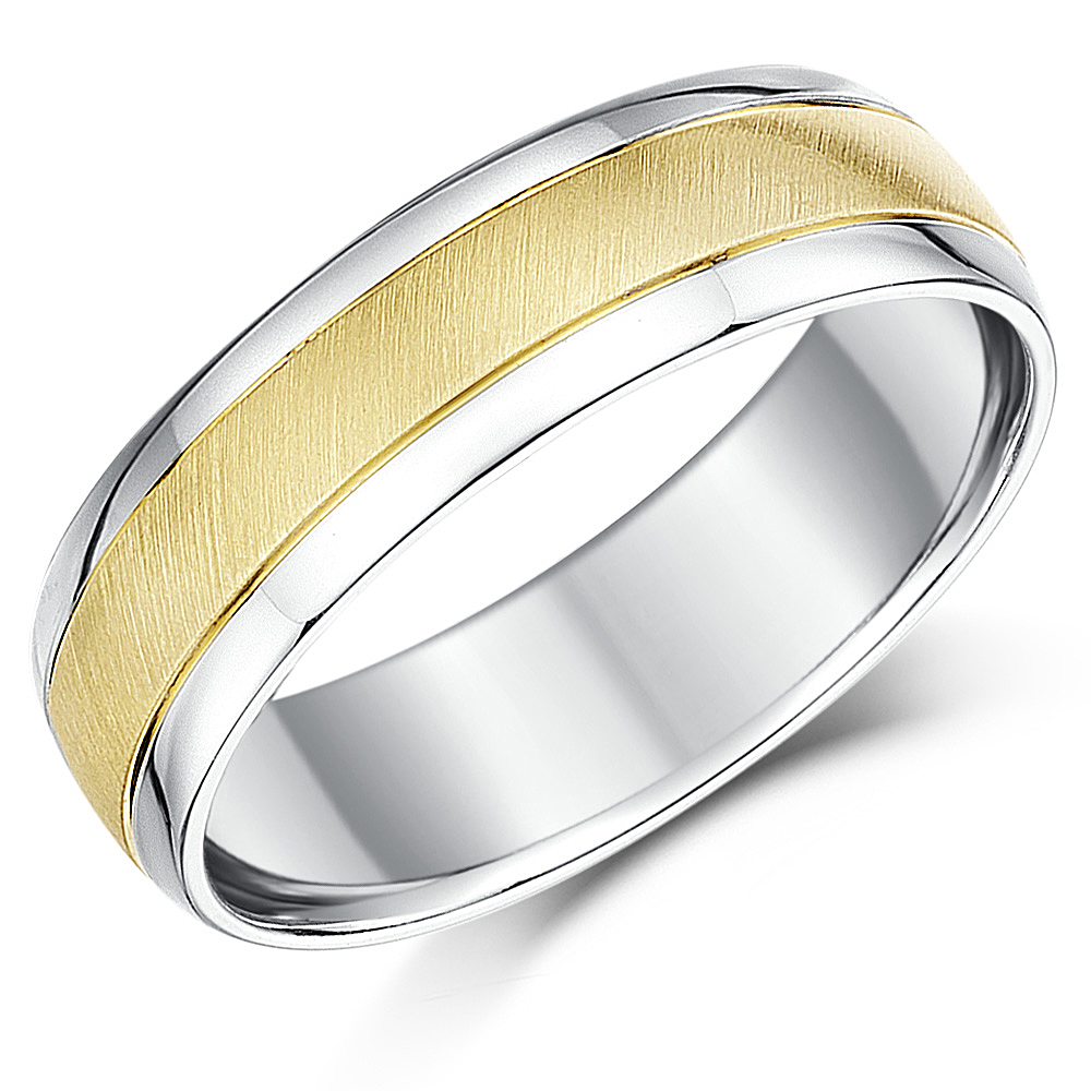 6mm 9ct Yellow Gold Amp Silver Two Colour Wedding Ring Band