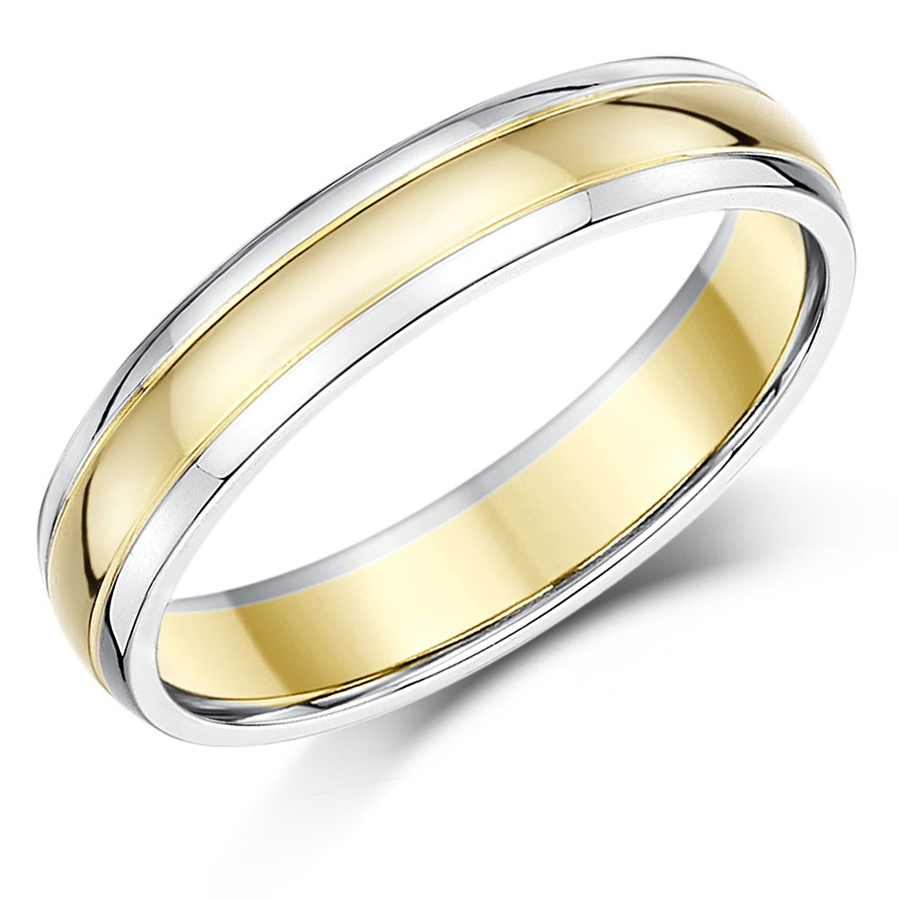 4mm 9ct Two Colour Gold Court Shape Wedding Ring Band