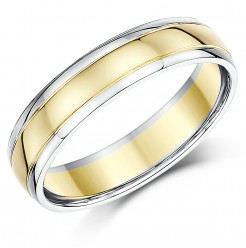 5mm 18ct Two Colour Gold Court Wedding Ring(4/6 week delivery)