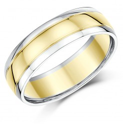 6mm  18ct Two Tone Gold Wedding Ring(4/6 week delivery)