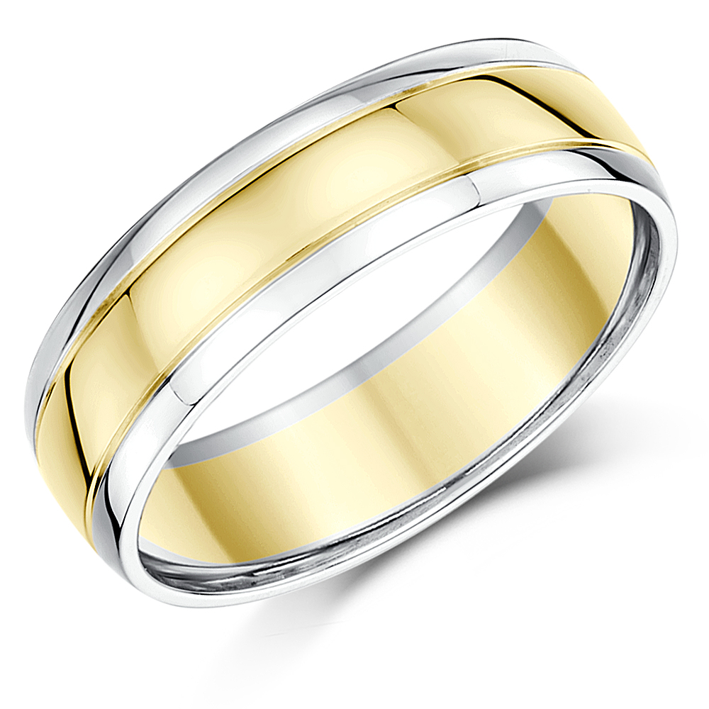 6mm 18ct Two Tone Gold Wedding Ring 4 6 Week Delivery 18ct 2