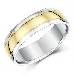 6mm 9ct Yellow Gold & Silver Court Shape Wedding Ring Band