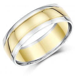 7mm 9ct Two Colour Gold Court Shape Wedding Ring Band