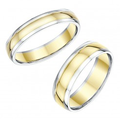 His & Hers 4&6mm 18ct Two Colour Wedding Rings (4/6 week delivery)