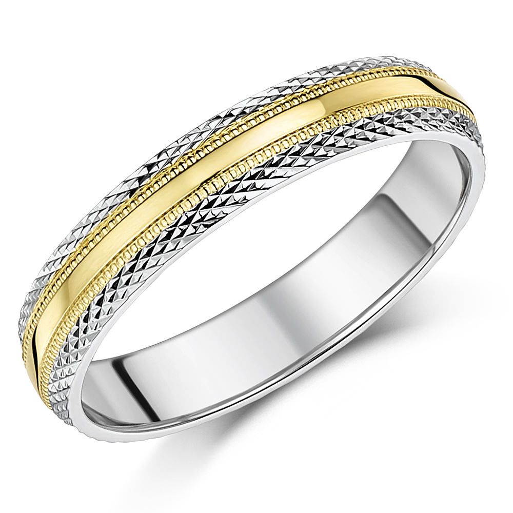 4mm Two Colour 9ct Yellow & White Gold Paternd Wedding Ring Band