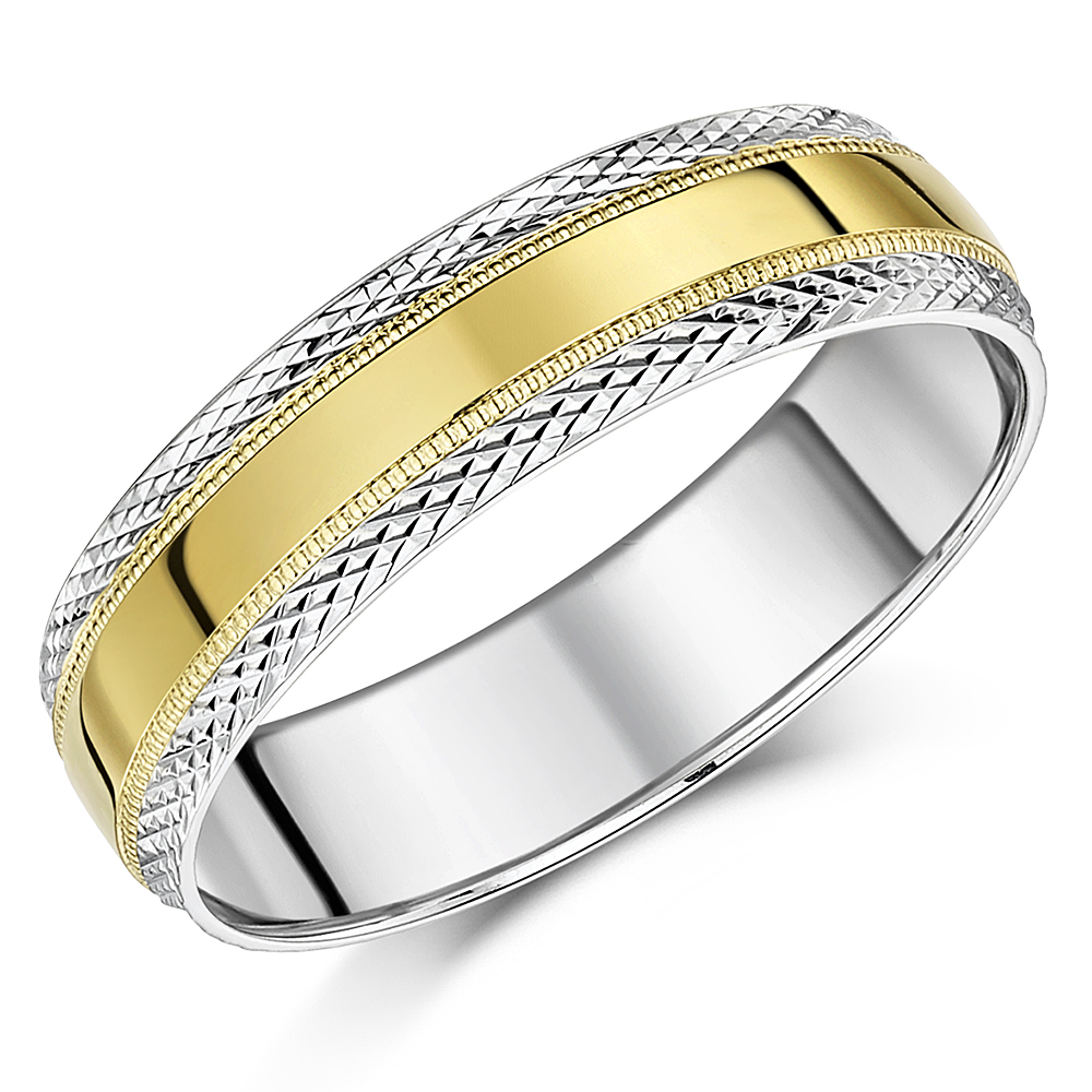 6mm Two Colour 9ct Yellow & White Gold Paternd Wedding Ring Band