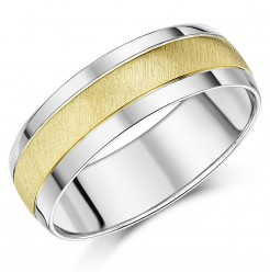 7mm 9ct Yellow Gold & Silver Two Colour Wedding Ring Band