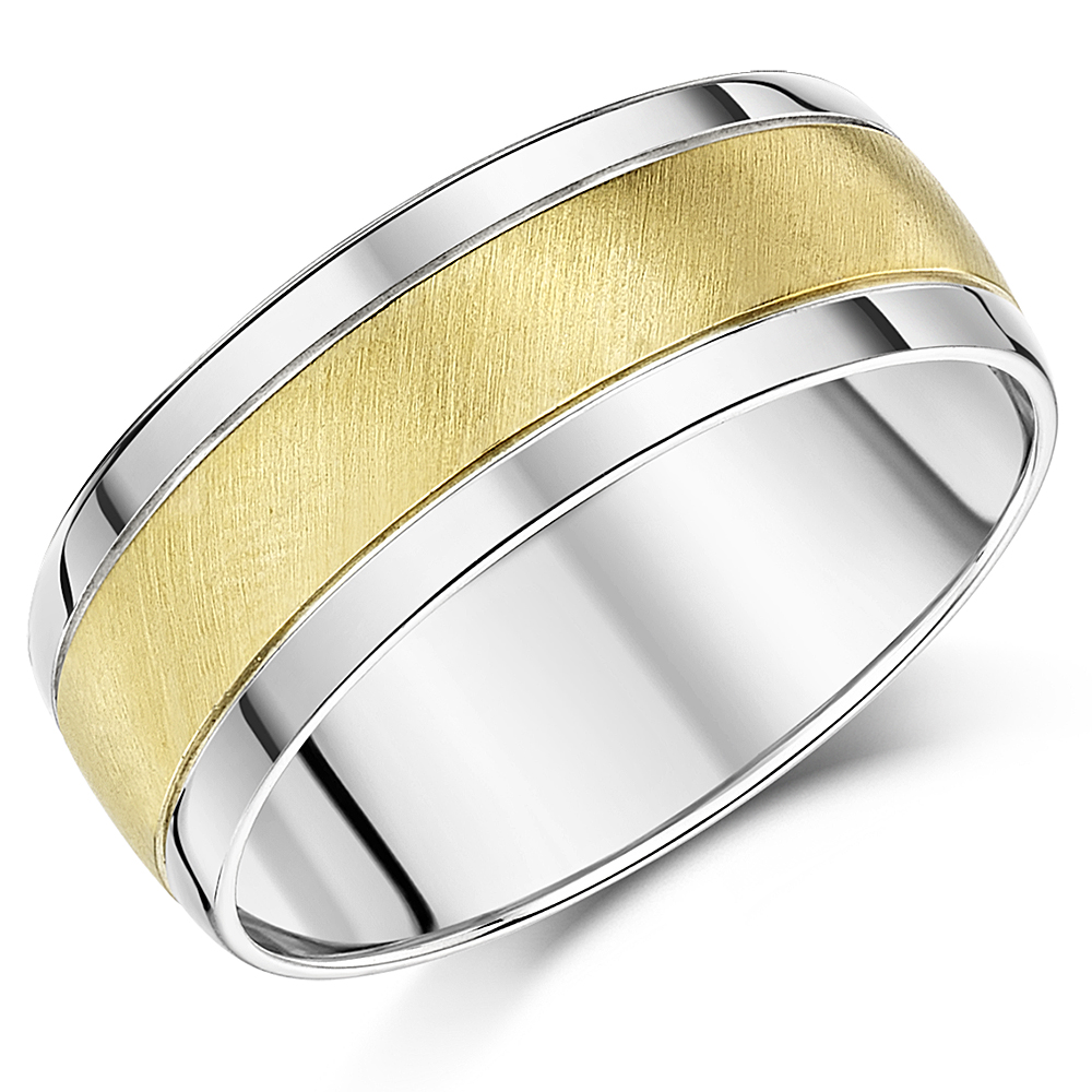 8mm 9ct Yellow Gold & Silver Two Colour Wedding Ring Band