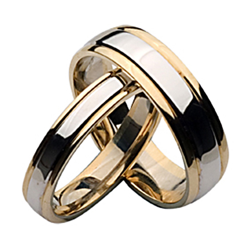 18ct Two Color Gold His And Her Matching Ring Set
