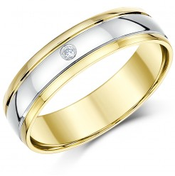 5mm 9ct Two Colour Gold Diamond Wedding Ring Band