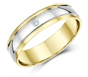 6mm 9ct Two Colour Gold Diamond Wedding Ring Band