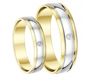 His & Hers 5&6mm 9ct Two Colour Gold Diamond Wedding Rings