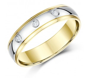 6mm 9ct Two Tone Yellow & White Gold Court Diamond Wedding Ring