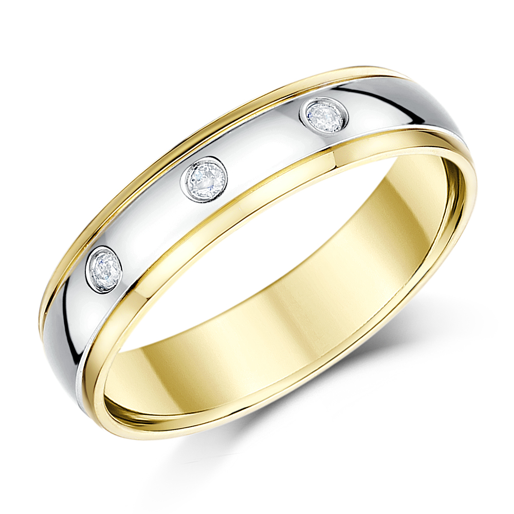 4mm 18ct Two Colour Gold Three Diamond Ring