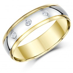 6mm 18ct Two Colour Gold Three Diamond Ring