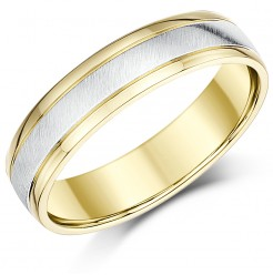 5mm Two Colour Yellow & White Gold Court Shape Wedding Ring