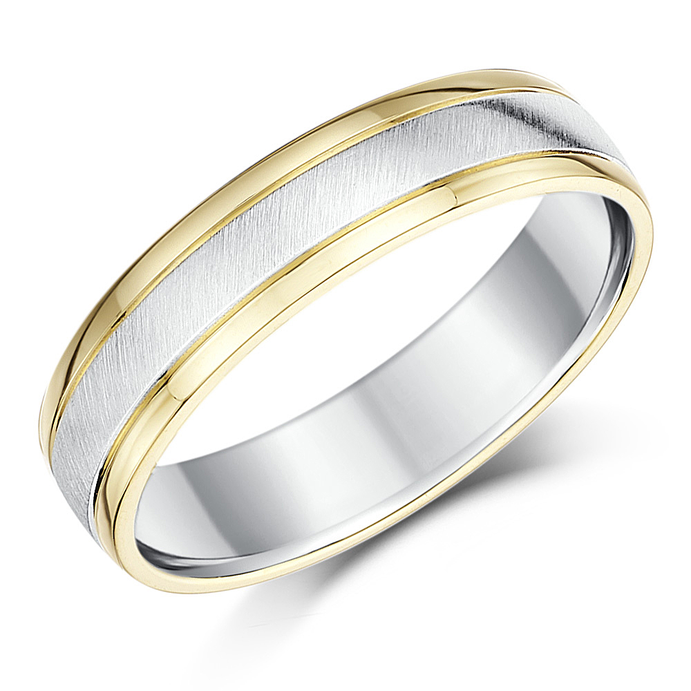 5mm silver and 9ct yellow gold two tone wedding ring band