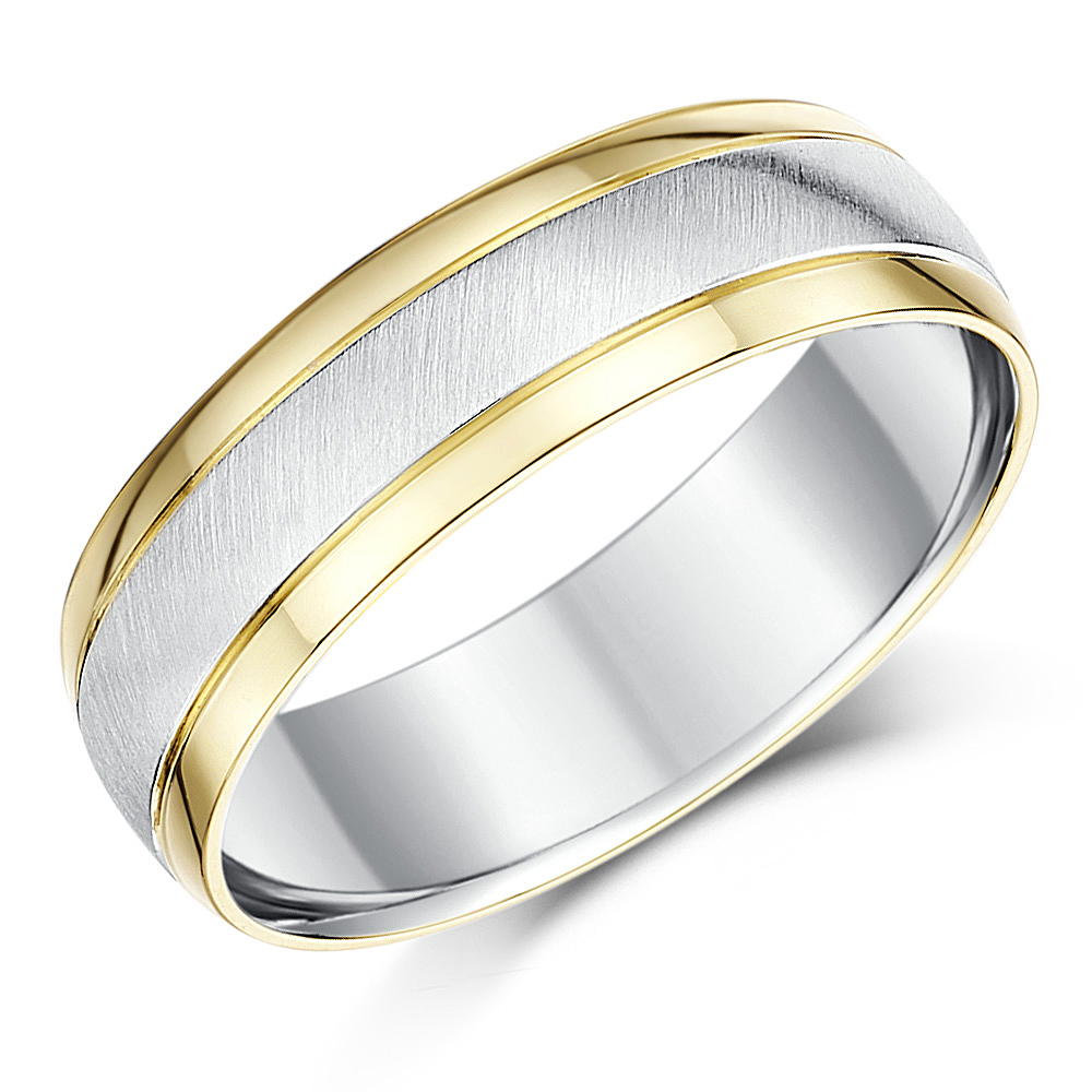 6mm Silver and 9ct Yellow Gold Two Tone Wedding Ring Band