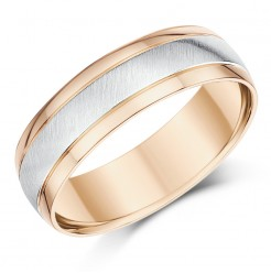Men's 9ct White & Rose Gold Matt & Polished 6mm Band